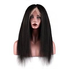 billiga Peruker och hårförlängning-Äkta hår Hel-spets Peruk Brasilianskt hår Burmesiskt hår Yaki Rakt Peruk 130% Hårtäthet Dam Enkel på- och avklädning Bästa kvalitet Naturlig Dam Lång Äkta peruker med hätta