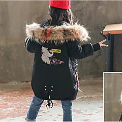 tanie Odzież dla dziewczynek-Dzieci Dla dziewczynek Podstawowy / Moda miejska Codzienny / Wyjściowe Dźwig Nadruk Futrzane wykończenie / Haft / Nadruk Długi rękaw Długie Poliester Odzież puchowa / pikowana Czarny 140