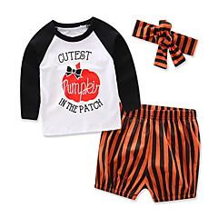 billige Sett med babyklær-Baby Pige Stribet / Trykt mønster Langærmet Tøjsæt