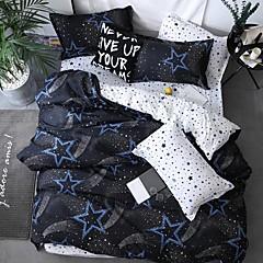 billige Hjemmetekstiler-dynetrekk setter moderne poly / bomullsreaktive trykk 4 stk sengetøy sett / 300/4 stk (1 dyne deksel, 1 flat ark, 2 shams) konge