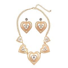 tanie Zestawy biżuterii-Damskie Biżuteria Ustaw - Serce Elegancki, Klasyczny Zawierać Naszyjniki Kolczyki Złoty / Srebrny Na Ślub Zaręczynowy