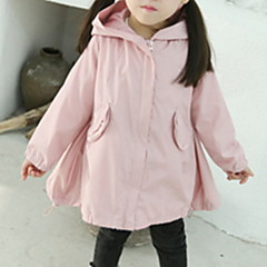 baratos Roupas de Meninas-Bébé Para Meninas Básico Sólido Manga Longa Algodão Casaco Trench Rosa 100