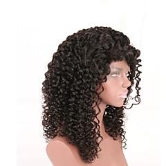billiga Peruker och hårförlängning-Remy-hår Spetsfront Peruk Brasilianskt hår Kinky Curly Peruk Frisyr i lager 180% Hårtäthet med babyhår Naturlig hårlinje Svart Dam Lång Äkta peruker med hätta Aili Young Hair