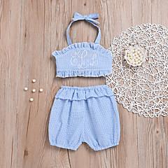 billige Sett med babyklær-Baby Pige Aktiv Strand Stribet / Trykt mønster Trykt mønster Uden ærmer Kort Kort Polyester Tøjsæt Lyseblå