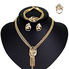 baratos Conjuntos de Bijuteria-Mulheres Zircônia Cubica Lariat Conjunto de jóias - Strass, Chapeado Dourado Importante, senhoras, Estiloso, Borla, Europeu Incluir Colar Brinco Pulseira Anel Sets nupcial Jóias Dourado Para