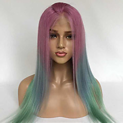 cheap Wigs & Hair Pieces-Human Hair Lace Front Wig Brazilian Hair Burmese Hair Straight Wig 130% Density with Baby Hair Women Best Quality Hot Sale Comfortable Multi-color Women's Long Human Hair Lace Wig