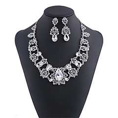 Women's White Crystal Classic Jewelry Set Heart, Gypsophila Luxury Include Necklace Silver / Red For Wedding Party