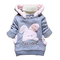 billige Hættetrøjer og sweatshirts til piger-Baby Pige Ensfarvet / Trykt mønster Langærmet Hættetrøje og sweatshirt