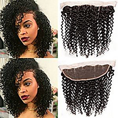 cheap Closure & Frontal-Mongolian Hair 4x13 Closure / Free Part Curly Free Part Swiss Lace Human Hair Women's Silky / Smooth / Extention Party / Birthday / Date