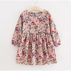 povoljno Novo u ponudi-Djeca Djevojčice Osnovni Cvjetni print Dugih rukava Haljina Blushing Pink