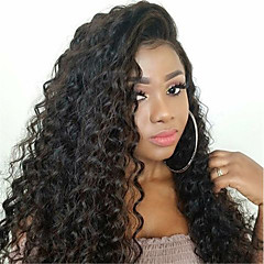 cheap Wigs & Hair Pieces-Remy Human Hair Full Lace Wig Brazilian Hair Deep Curly Wig Side Part 130% Density with Baby Hair Fashionable Design Party Women Natural Natural Women's Medium Length Human Hair Lace Wig Dolago