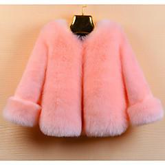 levne Dívčí bundy a kabáty-Děti Dívčí Základní Jednobarevné Dlouhý rukáv Umělá kožešina S podšívkou Béžová