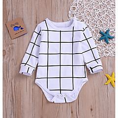 billige Babytøj-Baby Pige Sort og hvid Trykt mønster / Ruder Langærmet Bodysuit