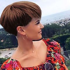 cheap Wigs & Hair Pieces-Human Hair Capless Wigs Human Hair Straight Pixie Cut Natural Hairline Short Machine Made Wig Women's