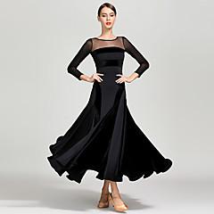 cheap Dancewear & Dance Shoes-Ballroom Dance Dresses Women's Training / Performance Tulle / Pleuche / Milk Fiber Split Joint Long Sleeve High Dress
