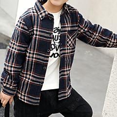 baratos Roupas de Meninos-Infantil / Bébé Para Meninos Activo Diário Listrado Estampado Manga Longa Padrão Algodão Camisa Azul 140