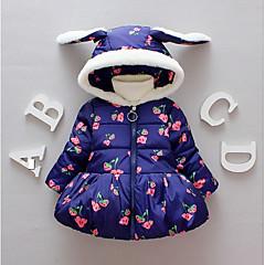 billige Pigetoppe-Baby Pige Basale Blomstret Langærmet Bomuld / Polyester Bluse Blå 100
