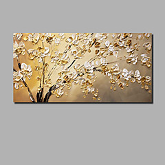 cheap Oversized Painting-Oil Painting Hand Painted - Abstract Floral / Botanical Comtemporary Modern Stretched Canvas / Rolled Canvas