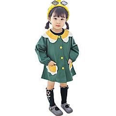 billige Babykjoler-Baby Pige Aktiv Daglig Farveblok Langærmet Over knæet Polyester Kjole Grøn