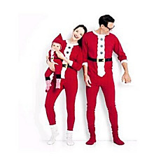 family look basic christmas daily color block long sleeve polyester clothing set red girl 3 4 years110cm