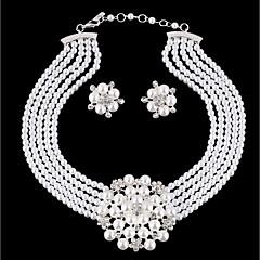 baratos Conjuntos de Bijuteria-Mulheres Camadas Conjunto de jóias - Imitação de Pérola Flor Estiloso, Original Incluir Brincos Compridos Colar Branco Para Diário
