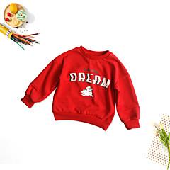 billige Hættetrøjer og sweatshirts til piger-Børn Pige Basale Daglig Trykt mønster Langærmet Normal Bomuld / Polyester Hættetrøje og sweatshirt Rød