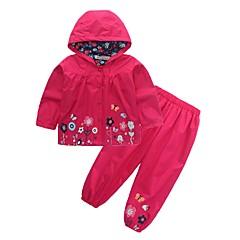 billige Tøjsæt til piger-Børn / Baby Pige Gade Skole / Fødselsdag Blomstret Langærmet Normal Normal Bomuld / Polyester Tøjsæt Lilla