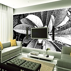 cheap -Wallpaper / Mural Canvas Wall Covering - Adhesive required Floral / Lines / Waves / 3D