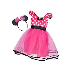 billige Babykjoler-Baby Pige Basale Ensfarvet Langærmet Bomuld / Polyester Kjole Rød 110
