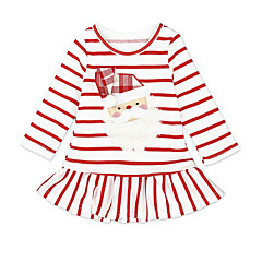 billige Babytøj-Baby Pige Aktiv Jul Stribet Langærmet Knælang Polyester Kjole Hvid