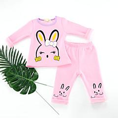 billige Undertøj og sokker til piger-2stk Børn / Baby Pige Aktiv / Basale Daglig Rabbit Trykt mønster Printer Langærmet Normal Normal Bomuld Nattøj Lyserød