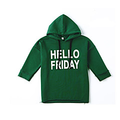 billige Hættetrøjer og sweatshirts til piger-Baby Pige Ensfarvet / Geometrisk Langærmet Hættetrøje og sweatshirt
