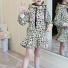 billige Pigekjoler-Børn Pige Basale / Sød Daglig / I-byen-tøj Leopard Langærmet Knælang Bomuld / Rayon Kjole Gul