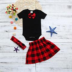 billige Sett med babyklær-Baby Pige Ensfarvet / Ternet Kortærmet Tøjsæt