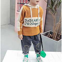 billige Hættetrøjer og sweatshirts til drenge-Børn Drenge Ensfarvet Langærmet Hættetrøje og sweatshirt