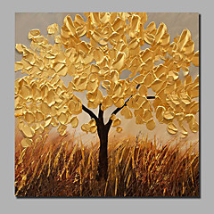 cheap -Oil Painting Hand Painted - Landscape Floral / Botanical Comtemporary Modern Stretched Canvas