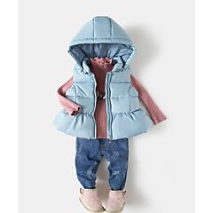 billige Pigetoppe-Børn Pige Aktiv Ensfarvet Uden ærmer Nylon Bluse Blå 100