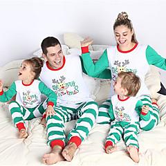 billige Sett med familieklær-Familie Look Grunnleggende Jul / Daglig Dyr Langermet Polyester Nattøy Hvit Jenter 60
