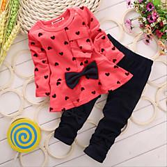 billige Tøjsæt til piger-Baby Pige Basale Daglig Hjerte Sløjfer / Trykt mønster Langærmet Lang Bomuld Tøjsæt Rød
