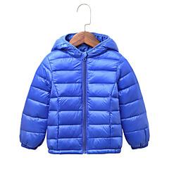 billige Jakker og frakker til piger-Børn / Baby Pige Basale Ensfarvet Langærmet Normal Polyester dun- og bomuldsforet Gul 110