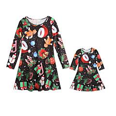 hesapli Aile Kıyafet Setleri-Annem ve ben Actif Noel / Günlük Geometrik Uzun Kollu Polyester Elbise Siyah