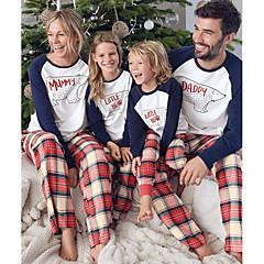 billige Sett med familieklær-3 deler Familie Look Grunnleggende Jul / Ferie Bokstaver Langermet Normal Normal Polyester Tøysett Hvit