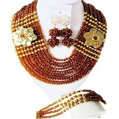 baratos Conjuntos de Bijuteria-Mulheres Camadas Conjunto de jóias - Fashion Incluir Strands Necklace Azul / Rosa / Champanhe Para Festival