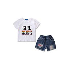 billige Tøjsæt til piger-Børn / Baby Pige Aktiv / Basale Daglig / Sport Trykt mønster Hul / Ribbet Kortærmet Normal Bomuld / Polyester / Spandex Tøjsæt Hvid