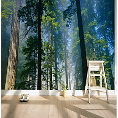 cheap -Wallpaper / Mural Canvas Wall Covering - Adhesive required Trees / Leaves / Pattern / 3D