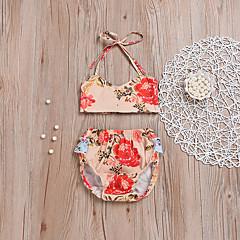 billige Sett med babyklær-Baby Pige Blomstret / Trykt mønster Uden ærmer Tøjsæt