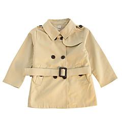 tanie Odzież dla dziewczynek-Dzieci Dla dziewczynek Vintage Solidne kolory Długi rękaw Akryl / Poliester Trenczy Khaki 100