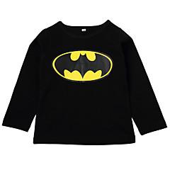 billige Pigetoppe-Baby Pige Aktiv Daglig Ensfarvet / Geometrisk Langærmet Normal Polyester T-shirt Sort