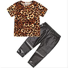 baratos Roupas de Meninas-Infantil Para Meninas Activo / Moda de Rua Diário / Para Noite Leopardo Estampado Manga Curta Padrão Poliéster Conjunto Preto