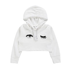 billige Hættetrøjer og sweatshirts til piger-Børn / Baby Pige Aktiv / Basale Daglig / I-byen-tøj Trykt mønster Langærmet Kort Bomuld Hættetrøje og sweatshirt Hvid 100